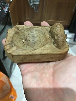 Robert Thompson Mouseman Carved Oak Mouse Ashtray/pin Dish Well Detailed