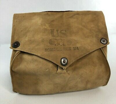 American WWII Khaki Canvas Bag / Pouch for Horse Gas Mask Assembly - VTG US