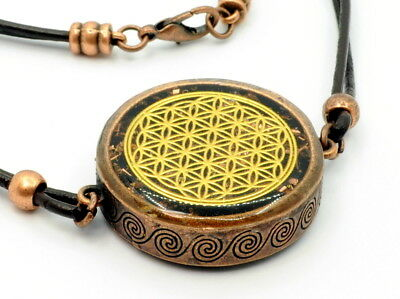 Flower Of Life Orgone Energy Large Reversible Pendant Necklace in Obsidian