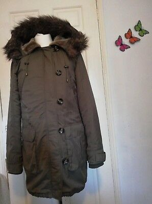 Oasis Green Hooded Detachable Lining + faux fur Parka Coat Small festival glamp