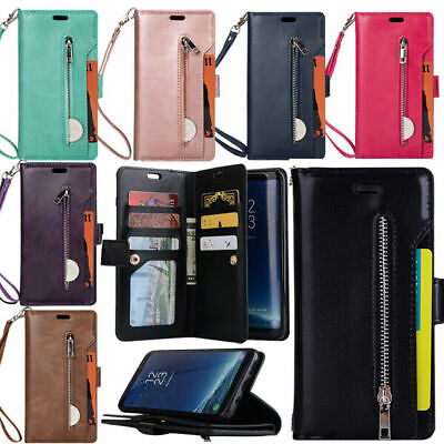 9 Cards For Samsung S10+ S9 S8 S7 A8 Wallet Flip Coin Zipper Leather Case Cover