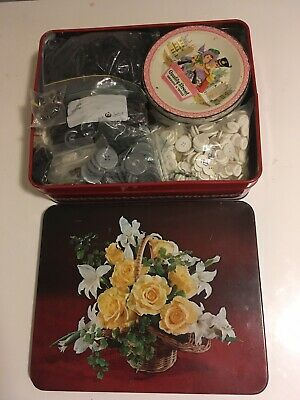 Bulk Lot Assorted Vintage & Newer Buttons In Arnotts Biscuit Tin Quality Street