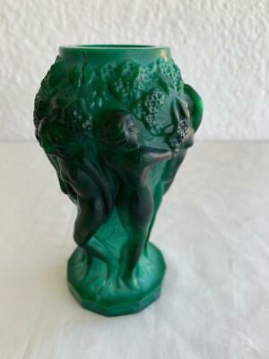 Vintage Czech Malachite Art Glass Green Vase Nude Ladies & Grapes Decorated S&H