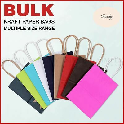 Party Bags Kraft Paper Bulk Favour Shopping Carry Kids With Handles Coloured