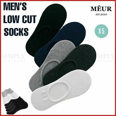 5Prs Men's Socks Cotton Low Cut Sport Ankle Cushion Non-Slip No Show Soft Bulk