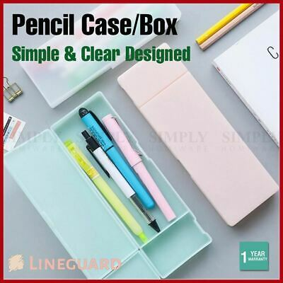 Pencil Case Clear Pen Box Stationery Waterproof Office School Plastic Classic AU