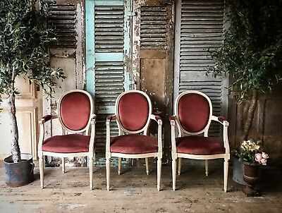 Three Vintage French Louis XV Style Chairs