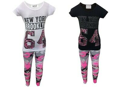 NEW Girls Kids New York Summer Outfit Top & Camo Leggings Tracksuit Set Age 7-13