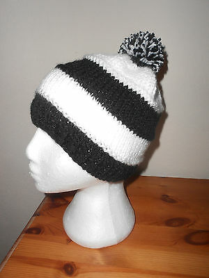 Black and white bobble knitted Hat  Newcastle United,Derby, Fulham football col.