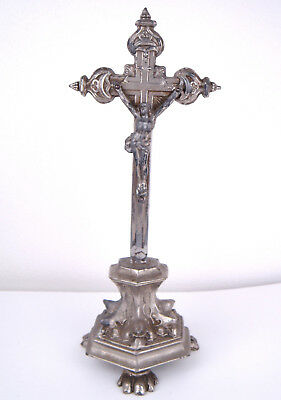 Antique French Art Nouveau Spelter Pewter Altar Crucifix Cross Icon Christian