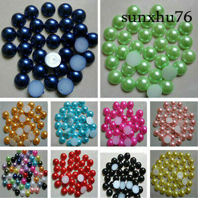 8-10mm Half Round Pearl Bead Flat Back Size Scrapbook for Craft Pick colo