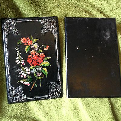 Exquisite Victorian Lacquer Book Covers, with dedication dated 1880