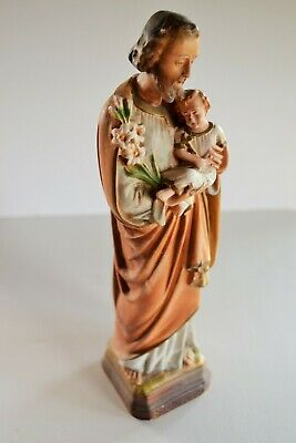 Antique Religious Chalkware Plaster Sculpture of Joseph & Sleeping Baby Jesus