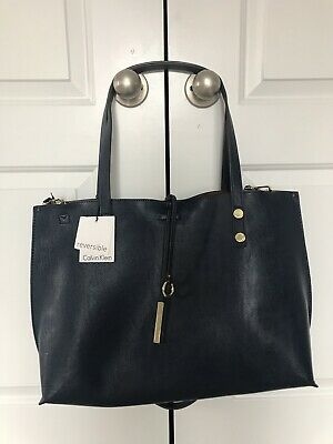 2bd07577745 NWT Calvin Klein XLarge Navy Blue Reversible Tote / Crossbody with Pouch