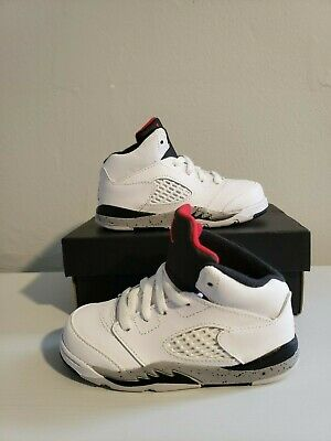 3c960cbe660 Air Jordan Retro 5 Toddler Shoes White/Cement-Red-Black BRAND NEW WITH