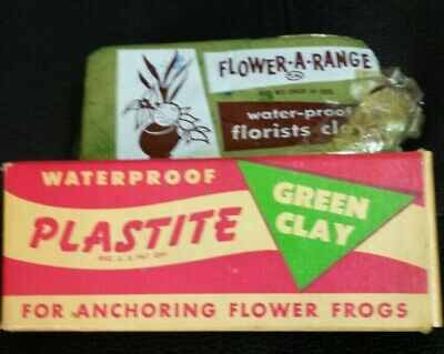 Vintage Waterproof Plastite Green Clay Anchoring Flower Frogs NEW OLD STOCK.