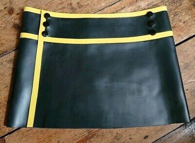 BRAND NEW Mens rubber latex Black with yellow trim mini kilt size - S