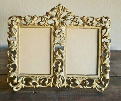 Vintage Cast Iron Picture Frame, Iron Art JM 57, Ornate Double Photograph Easel
