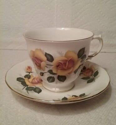 Beautiful Vintage Queen Anne Yellow Rose Fine English Bone China Cup & Saucer