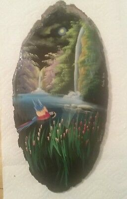 """OIL PAINTING, PAINTED ON TREE SLICE, COSTA RICA 16"""" x 8"""" signed. Beautiful"""