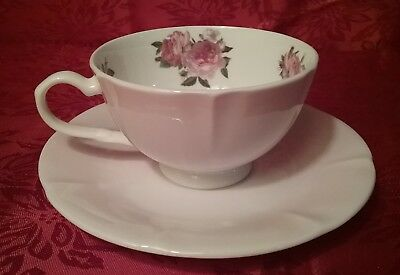 Stechcol teacup tea cup and saucer roses 2 pc Gracie bone china