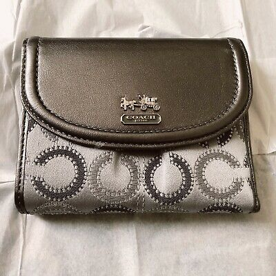 New AUTHENTIC Coach Madison Dotted Op Art Medium Wallet 48643 Silver grey Multi