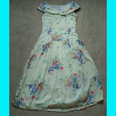 Vintage Yellow Floral Tea Dress 8 40s 50s Style