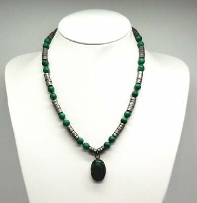 Malachite Sterling Silver Steel Art Deco Necklace and Pendant on Gemstone Metal