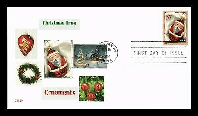 Dr Jim Stamps Us Christmas Tree Ornaments Red Santa First Day Cover