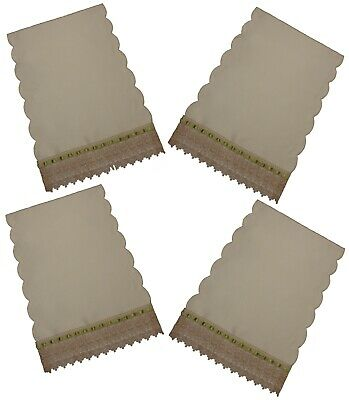 Pack 4 Cream Scalloped Edge Chair Back Covers Schiffli Lace Edge Light.Green