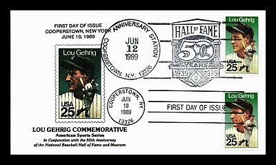Dr Jim Stamps Us Lou Gehrig Baseball Combo First Day Cover Cooperstown