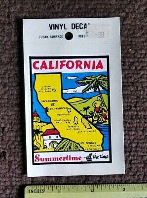 1980s  CALIFORNIA Vintage Travel Decal / Vinyl Sticker, Luggage Label Summertime