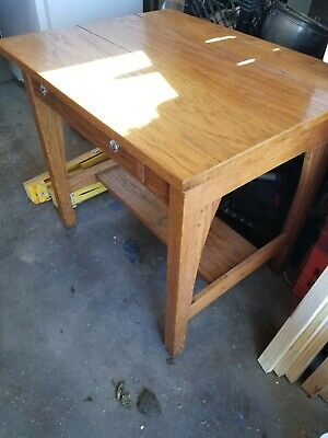 Antique Mission oak Library Table or Desk - Arts & Crafts