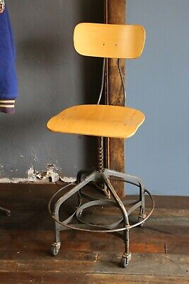 Vintage Industrial Toledo UHL Drafting Stool Machine Age Chair Workbench table