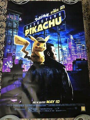 Detective Pikachu Pokemon Auth Orig D/S 4 x 6 FT BUS SHELTER Size Movie Poster