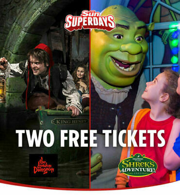 2  x LONDON DUNGEON OR SHREK's ADVENTURES TICKETS SUN SAVER PICK YOUR OWN DATES