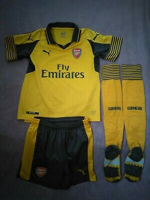 b6f6a855d4e AUTHENTIC PUMA ARSENAL away gold football kit for boys 5-6 years ...