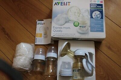 19Philips Avent Manual breast pump + 2 Baby Bottles+20 Breast Pads- NEW