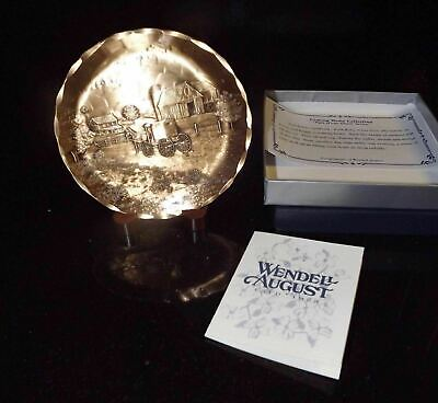 Collectible Wendell August Solid Bronze Miniature Plate Amish Series Coming Home