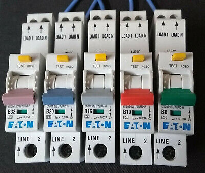 EATON RCBO's eRBM Compact 30mA. 32A, 20A,16A, 10A, 6A. Type B !Live Tested!