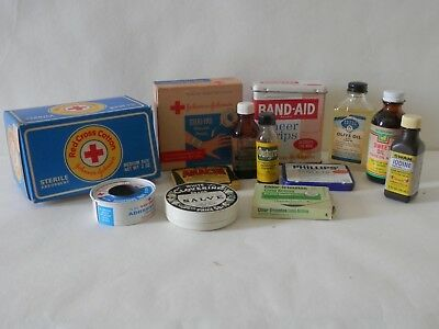 Vintage Advertising Medicine and First Aid Supplies 13 pc. Display Prop Decor