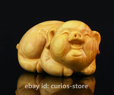 "2.4"" Chinese Lobular Box-wood Hand-carved 12 Zodiac Animal Lucky Pig Statue 生肖猪"