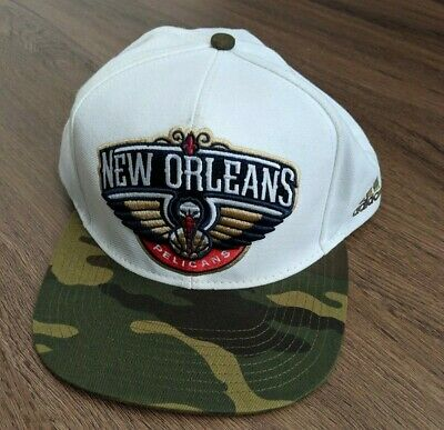 size 40 baf2c e8f55 New Orleans Pelicans Nba Basketball Hat Cap Snap Back Adidas Official Camo  White