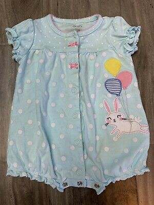 6966c3528 Carters Easter Bunny 3 Months Snap-up Romper Baby Girl Clothes Blue Polka  Dot