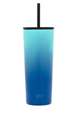 NEW Simple Modern Stainless Steel Water Bottle - Ombre Turquoise Blue 24oz.