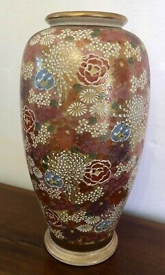 Antique Japanese Satsuma Thousand Flowers Ceramic Vase Late Meiji Period