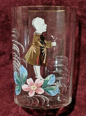 1800's Mary Gregory Hand-Painted Antique Tumbler Drinking Glass Boy / Flowers