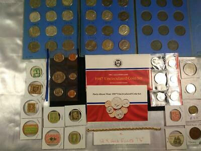 Junk Drawer LOT Vintage US 90% Silver Coins, Gold Filled Jewelry,Foreign Coins L