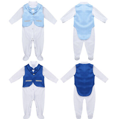 Infant Baby Boys Newborn Gentleman Tuxedo Outfit Long Sleeves Bowtie Footie+Vest