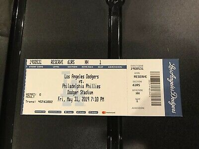 5/31/19 May 31, 2019 Phillies Vs. LA Dodgers Tickets Stubs